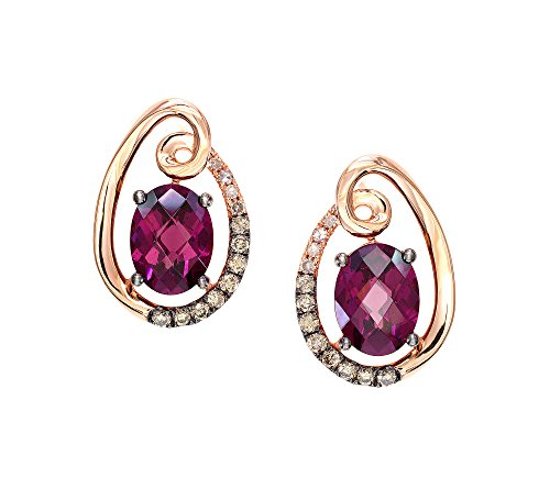 Effy Bordeaux Collection Rhodolite Garnet and 0.22 ct. t.w. Diamond Earrings in 14K Rose Gold ()
