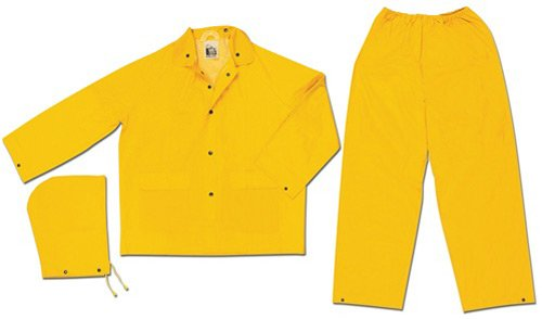 MCR Safety 2903L Classic PVC/Polyester 3-Piece Rainsuit with Elastic Waist Pants, Yellow, Large by MCR Safety (Image #1)