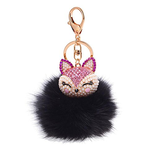 Fox Fur Ball Pearl Rhinestone Keychain Keyring for Car Key Ring Handbag Chain