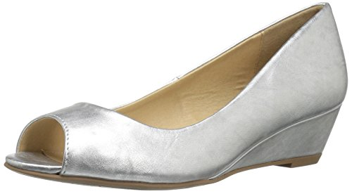 Metallic Peep Toe (CL by Chinese Laundry Women's Hartley Wedge Pump, Silver Metallic, 8.5 M US)