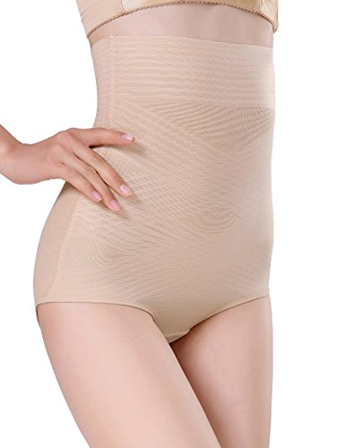 MSJESSIE Women's High Waist Shapewear, Slimmer Tummy Control Underwear Bodysuit, Seamless Body Shaper Shaping Briefs (Beige, - Bodysuit Seamless Shaping