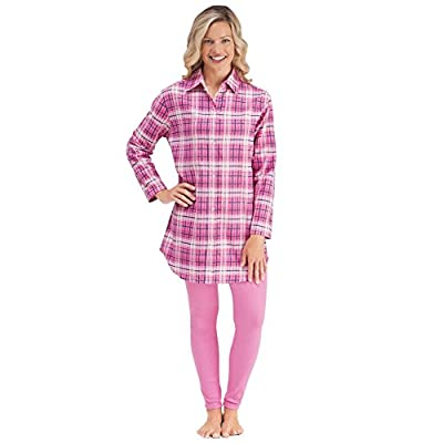 Flannel Shirt & Elastic Waist Legging Two Piece Outfit Set