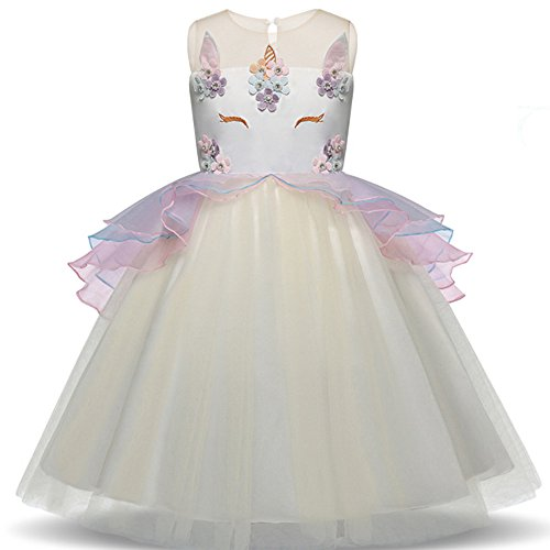 Tiered Beading - Girls Beading Flower Unicorn Costume Princess Dress Birthday Party Dance Outfits Gowns Easter Party Cosplay Tutu Dress (120, Beige)
