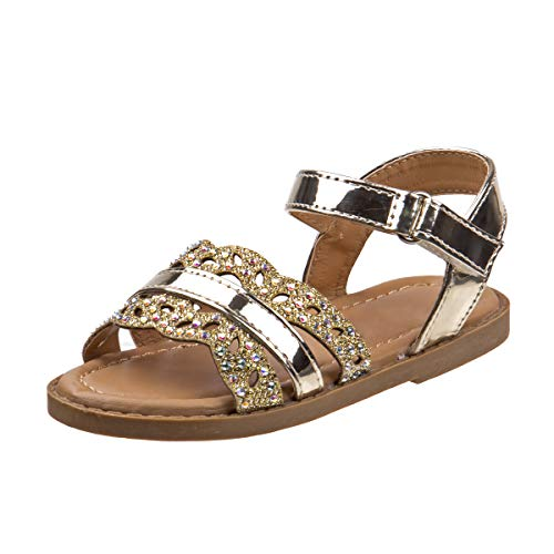 Rugged Bear Girls Metallic Stripe & Iridescent Glitter Strap Sandals, Gold, Size 7 M US Toddler