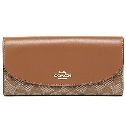 Coach Signature PVC Slim Envelope in Khaki/Saddle F54022 by Coach