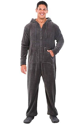 Alexander Del Rossa Mens Fleece Onesie, Hooded Footed Jumpsuit Pajamas, Medium Vintage Heathered Grey (Mens Cool Onesies)