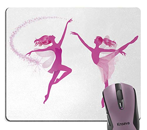 Two Ballerinas - Knseva Ballet White Pink Mouse Pad, Two Ballerina Fairies Dancing Female Fantasy Beauty Mythological Performance Mouse Pads