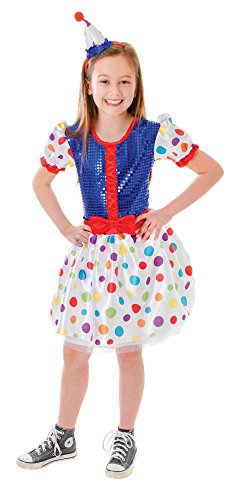 Bristol Novelty CC117 Clown Dress and Headband, Small, Height 110 - 122 cm, Approx Age 3 -5 Years, Clown Dress and Headband (S)