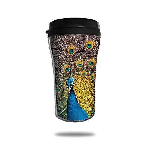 Stainless Steel Insulated Coffee Travel Mug,Spill Proof Flip Lid Insulated Coffee cup Keeps Hot or Cold 8.45 OZ(250 ml)Customizable printing byPeacock Decor,Peacock Displaying Feathers Vibrant Colors (Displaying Peacock Feathers)