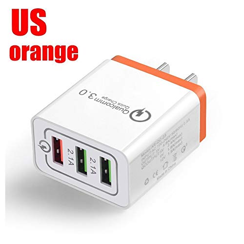 Ocamo 30W QC 3.0 Fast Quick Charger 3 Port USB Hub Cargador de Pared Adaptador, Anaranjado, U.S. regulations
