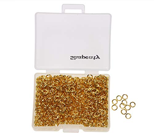 Shapenty 1000PCS Gold Plated Iron Open Jump Rings Connectors Bulk for DIY Craft Earring Necklace Bracelet Pendant Choker Jewelry Making Findings and Key Ring Chain Accessories (Gold, 4mm)