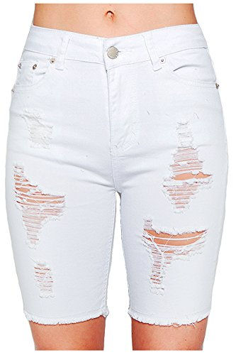 TwiinSisters Women's Casual Destroyed Mid Rise Twill Bermuda Shorts with Comfort Stretch (Medium, White (Twill Womens Shorts)