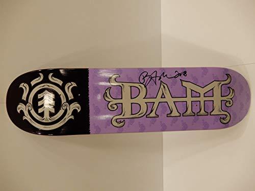 Skateboard Decks Margera Bam (Bam Margera Signed Element 8.0 Purple Skateboard Deck Board Jackass Proof)