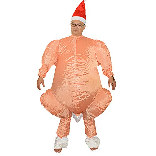 HHARTS Adult Turkey Ride Inflatable Costume with Santa Hat Blow up Costume Fancy Dress Costume for Halloween Cosplay Party Christmas Thanksgiving Yellow -