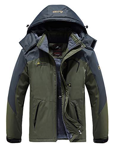 HOW'ON Men's Snow Jacket Waterproof Ski Jackets Winter Hooded Mountain Fleece Outwear Detachable Hood Windproof Fleece Coat Army Green 2XL (Best All Mountain Snow Skis)