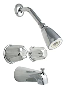 LDR 011 8000 Double Handle Tub and Shower Faucet, Chrome