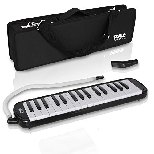 Professional Mouth Piano Melodica Instrument - Mouth Keyboard Piano Organ Melodica Set w/Mouthpiece, Tube Accessories, for Beginner or Band - Pyle (Black)