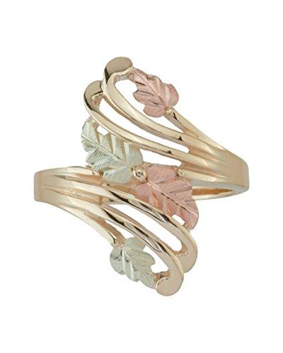 Bypass Flank Grape Leaf Ring, Sterling Silver, 12k Green and Rose Gold Black Hills Gold Motif, Size 10 by Black Hills Gold Jewelry
