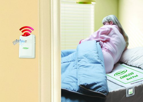 "Smart Caregiver® Cordless Bed Exit Alarm System for Fall/Wandering Prevention – Includes Cordless Monitor and Wireless Bed Pad 10""x30"""
