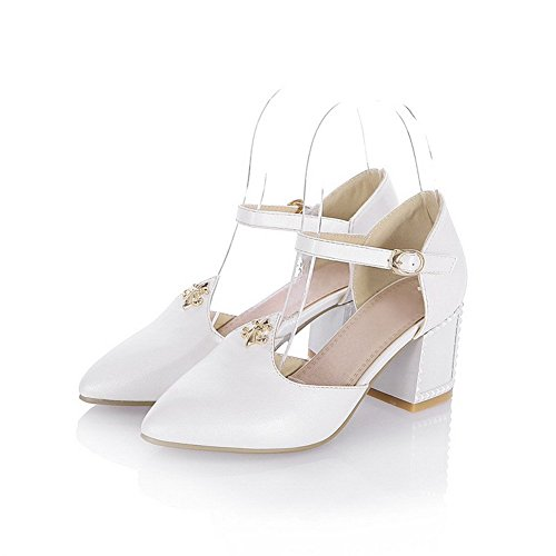 AllhqFashion Women's Soft Material Pointed Closed Toe High Heels Buckle Solid Sandals White dOxdO