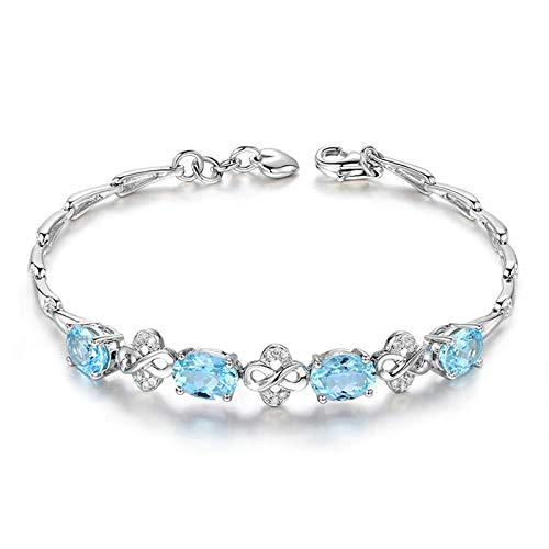 EoCot Custom Silver Plated Infinity Bracelets for Women Oval Cut Blue Topaz Charm Bracelets