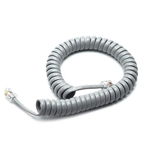 Sscon 5pcs RJ9 4P4C Plug Telephone Handset Cable Cord 6.56ft Uncoiled for Landline Phone, Grey