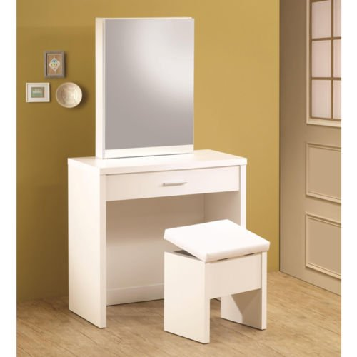 1PerfectChoice Glossy White Vanity Makeup Table Set w/