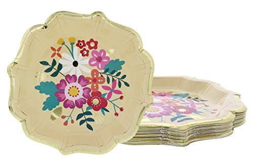 Disposable Plates - 24-Count Paper Plates, Vintage Floral Party Supplies for Appetizer, Lunch, Dinner, and Dessert, Bridal Showers, Weddings, Gold Foil Scalloped Edge Design, 9.2 x 9.2 inches (Party Lunch Paper Shower Plates)