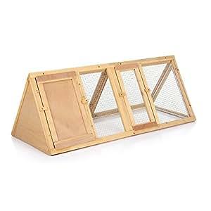 iKayaa AB2023 - Conejera de madera de abeto con 2 puertas,118x50x45cm