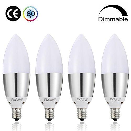 EKSAVE candelabra led E12 Dimmable LED Bulb 8watt 80 Watt Equivalent Light Bulbs Replacement, E12 Candelabra Base LED Bulbs, Lamps for Home(4 Pack) 3000K Warm white