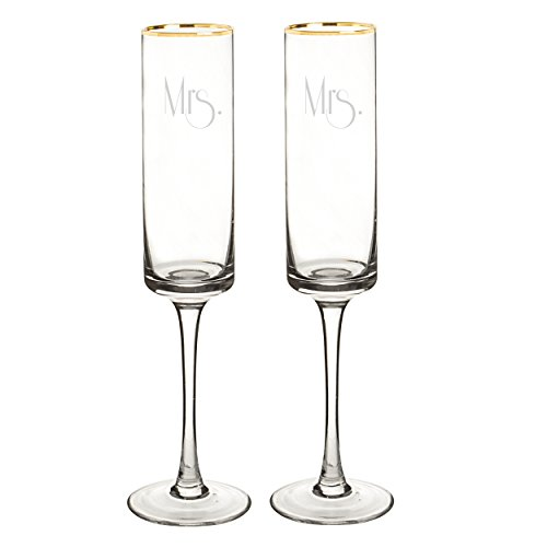 Cathy's Concepts Mrs. & Mrs. Gatsby Gold Rim Contemporary Champagne Flutes, Clear/Gold