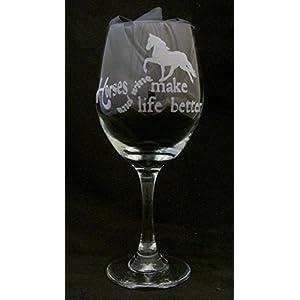 Horses and Wine Make Life Better Wine Glass, Horse gift, Horse Owner Gift, Horse Lover