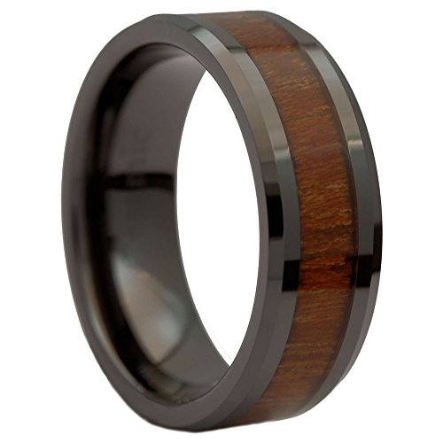 Wedding Band Natural Acacia Koa Wood Inlay Comfort Fit Ring Size 9.5 (Black Ceramic Comfort Fit Ring)