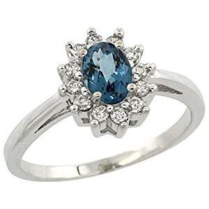 10K White Gold Natural London Blue Topaz Flower Diamond Halo Ring Oval 6x4 mm, size 5
