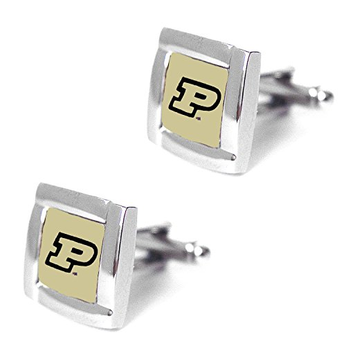 Rick NCAA Purdue Boilermakers Square Cufflinks with Square Shape Logo Design Gift Box Set ()