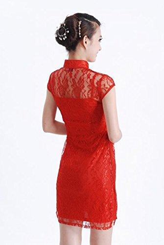 Smile YKK Femme Robe Courte Chinois Cheongsam Qipao Paon Rouge XL