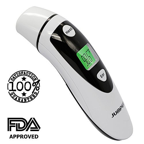 Medical Forehead and Ear Thermometer FDA Approved (Dual Mode) – Infrared Digital Professional Instant Fever Readings for Baby Children and Adult with Pouch – Body or Object Temperature (Black)
