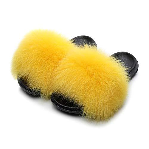 HONGTEYA Real Fox Fur Slides Sandals for Women 20+ Styles Toddler Girls Feather Slip On Summer Furry Slippers Flip Flops Shoes Flats (12 M US Toddler, Yellow)