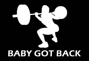 Baby Got Back Woman Squat Decal Vinyl Sticker|Cars Trucks Walls Laptop|WHITE|5.7 X 4.4 In|URI120