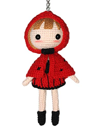 Lucore Little Red Riding Hood Crochet Doll Keychain - Hanging String Yarn Girl Toy Figurine Hanging Ornament Decoration