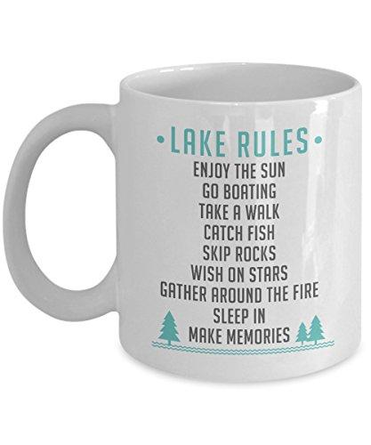 Lake Rules Funny List Coffee & Tea Gift Mug For Summer Time Vacation At The Lake
