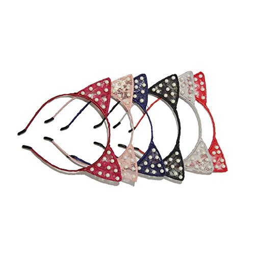Ear Bead - 6 Pack Lace Cat Ears Headband Pearl Beads Metal Hair Hoop Hairband for Women Girls Party Headwear Hair Accessories
