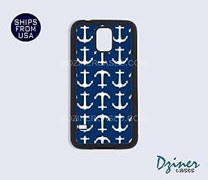 Galaxy S5 Heavy Duty Tough Case Cover - Blue Anchors