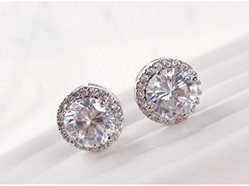 - Qiaoying 18k White Gold Plated Cubic Zirconia Earrings Studs 3.45 Carats Round Cut Cubic Zirconia Halo Shaped Gemstone Present Idea