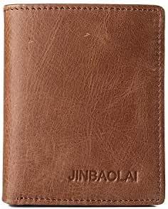 Jinbaolai Leather Brown Wallet for Men W104