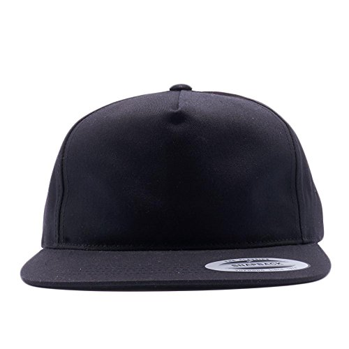 Yupoong Classic 6502 Unstructured 5 Panel Snapback Hats Vintage Baseball Caps (Black) (Crown Five Panel Cap)