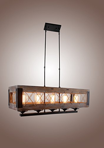 Decomust Cesto Collection Oak Wood Aged Metal Chandelier, Brown