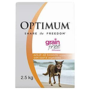 OPTIMUM Adult Grain Free Beef Dry Dog Food 2.5kg Bag 4 Pack