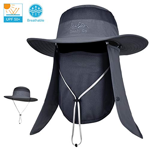 53b72a08b4f LCZTN Outdoor Sun Cap for Men   Women Breathable Wide Brim Fishing Hat UPF  50+ UV Protection with Removable Face   Neck Flap for Backpacking Hiking  Travel ...