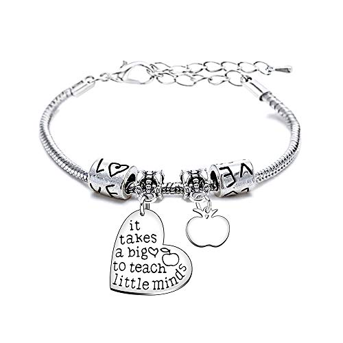 It Takes a Big Heart to Teach Little Minds Bracelet Adjustable Bangle Teacher Women Men (Style C)